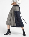 Color Block Skirt With Pleated Hem