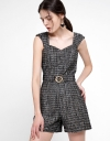 Strappy Tweed Romper With Belt