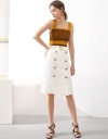 Mid-Rise Midi Skirt With Button Front