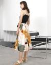 プリントスカートのストラップミディドレス