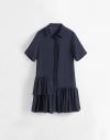 ギャザーヘムのシャツドレス