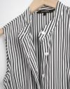 Sleeveless Shirt Striped Dress With Belt