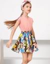 プリントスカートのスモックドレス