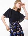 コントラストフローラルミックスドレス