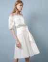 刺繍コントラストタイドフロントドレス