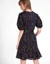 水玉柄のスリーブドレス