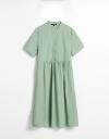 プリーツの半袖ギャザーシャツドレス