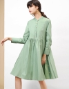 プリーツの長袖ギャザーシャツドレス