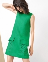 Shift Dress With Embroidered Pockets