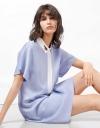 コントラストプラケットシャツドレス