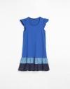 コントラストフレアペプラムドレス