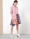 コントラストアシメトリックシャツドレス