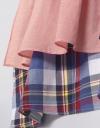 長袖コントラストアシメトリックシャツドレス