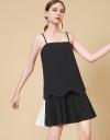 プリーツコントラストタンクドレス