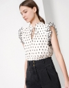 Contrast Stitch Top with Pleats