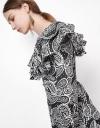 Long Sleeve Volume Ruffles Midi Dress