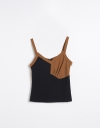 Contrast Tank Top with Gathers
