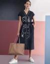 Hand-embroidery Midi Shirt Dress