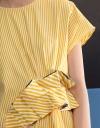 プリーツディテールのストライプシャツドレス