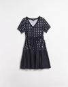 水玉コントラストギャザードレス