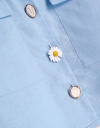 パッチポケットのフローラルボタンシャツトップ