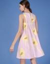 袖なしプリントシフトドレス