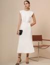ショルダーディテールのミディハイライズウエストドレス