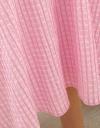 オーガンザチェックのフレアミディドレス