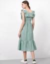 Ruffle Detail Square Neck Maxi Dress