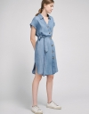 Button Front Belted Shirt Dress